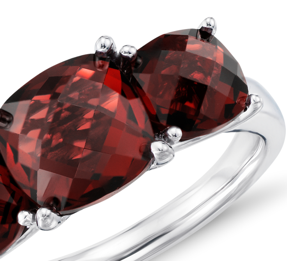 Garnet Three Stone Cocktail Ring in Sterling Silver