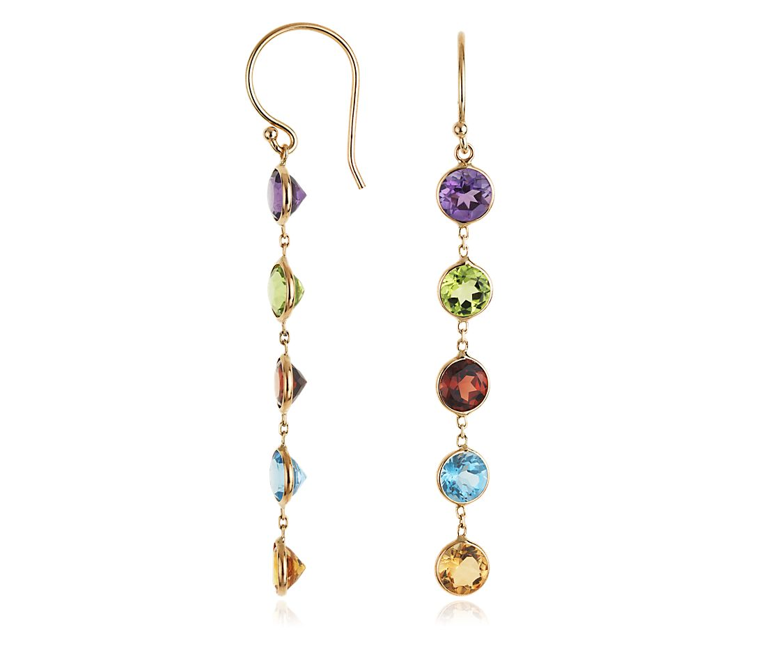 Multicolor Bezel Gemstone Earrings in 14k Yellow Gold