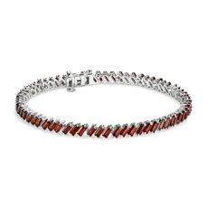 Garnet Baguette Bracelet in Sterling Silver