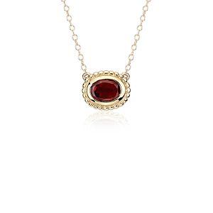 Garnet Bezel Necklace in 14k Yellow Gold (8x6mm)