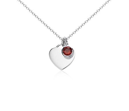 Pendentif cœur pierre d'anniversaire grenat en argent sterling (Janvier)<br>(4,5mm)