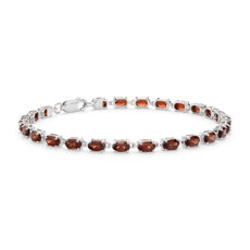 NEW Petite Garnet Oval Bracelet in Sterling Silver (5x3mm)