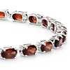 Petite Garnet Oval Bracelet in Sterling Silver (5x3mm)