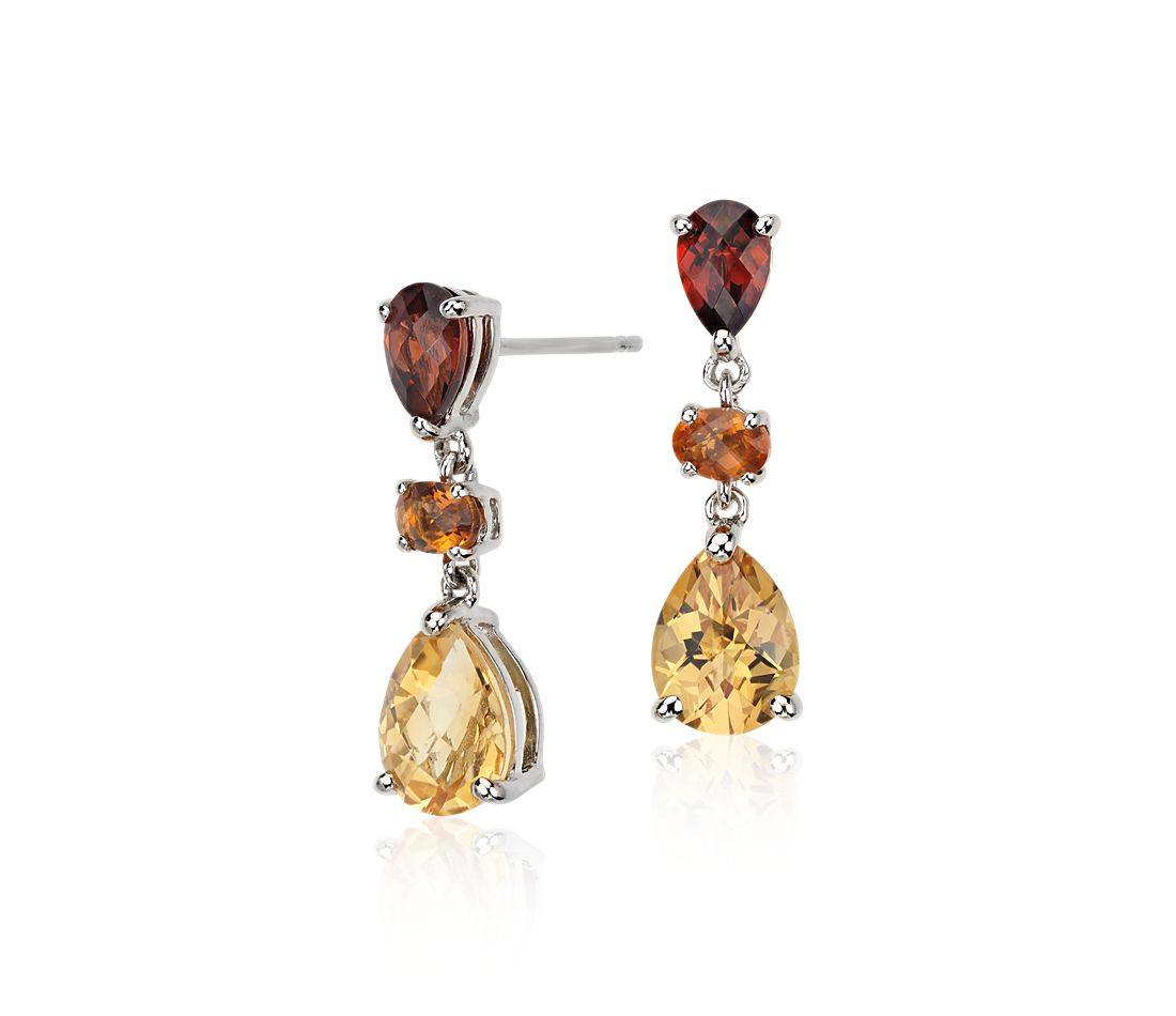 Madeira Citrine And Garnet Earrings In 14k White Gold 8x6mm
