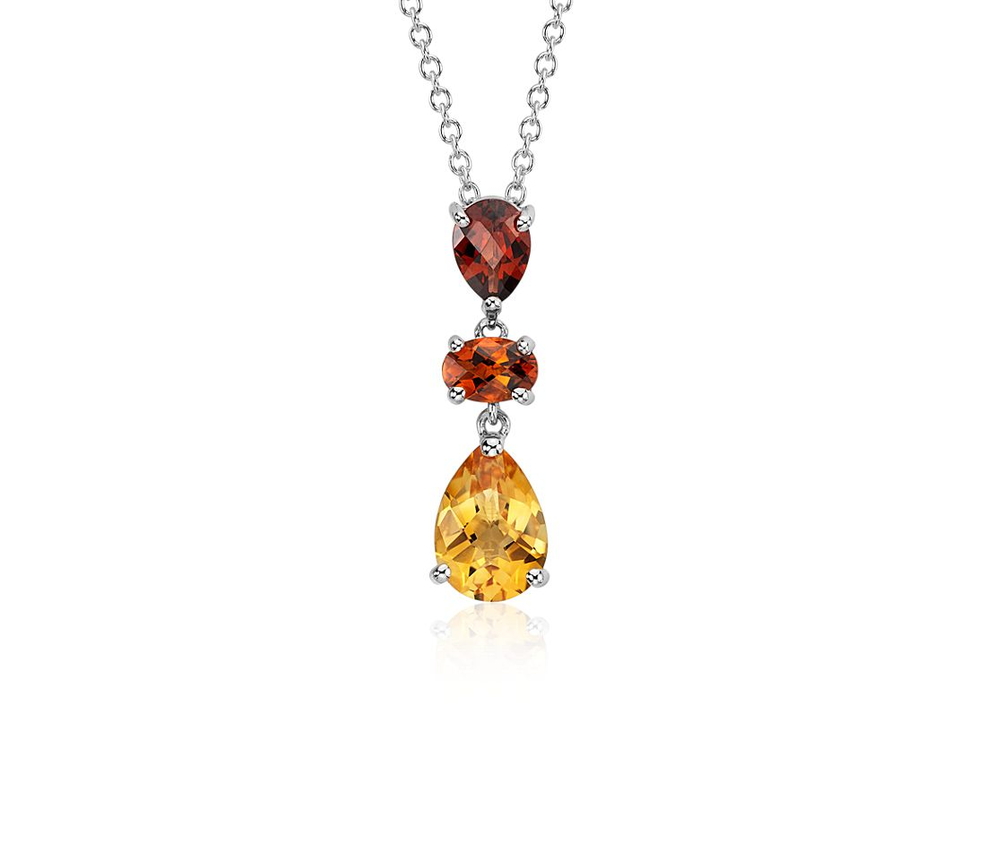 Madeira Citrine, Citrine, and Garnet Pendant in 14k White Gold (10x7mm)