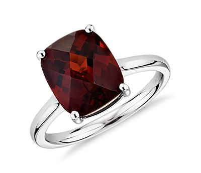 Garnet Cushion Cut 14k White Gold Ring