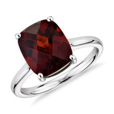 Garnet Cushion Cocktail Ring in 14k White Gold (11x9mm)