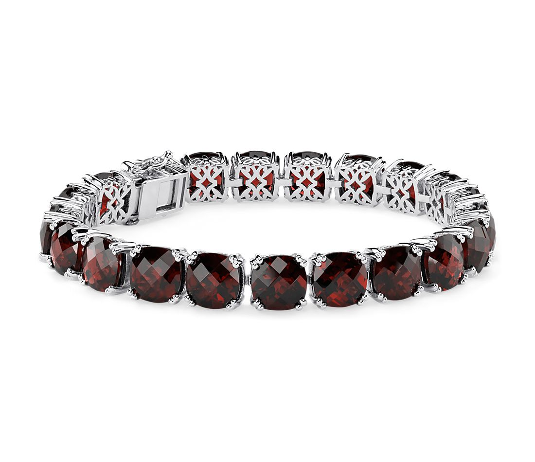 Garnet Cushion Bracelet in Sterling Silver (8mm)