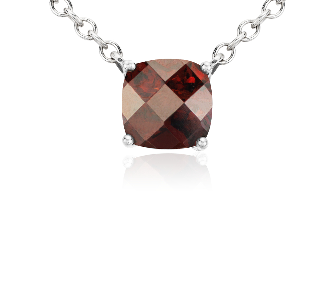 Garnet Cushion Pendant in Sterling Silver (8mm)