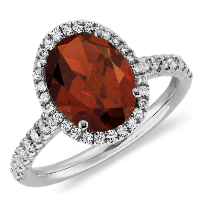 Garnet and Diamond Halo Ring in 18k White Gold 10x8mm Blue Nile