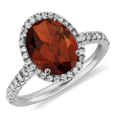 Garnet and Diamond Halo Ring in 18k White Gold (10x8mm)