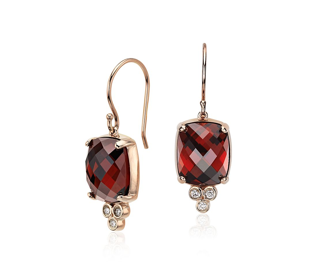 Robert Leser Garnet and Diamond Earrings in 14k Rose Gold (11x9mm)