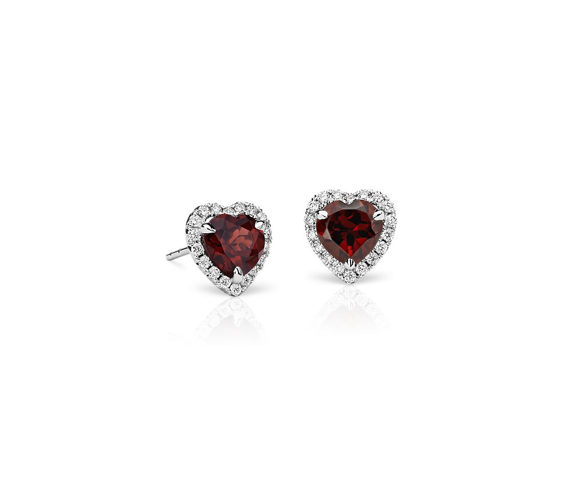 Heartshaped Garnet And Micropavé Diamond Earrings In 18k White Gold (6mm)