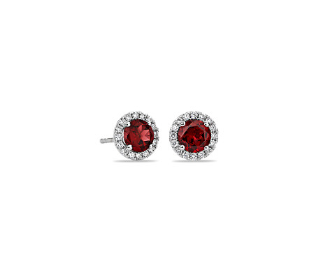 Garnet And Micropavé Diamond Stud Earrings In 18k White Gold 5mm