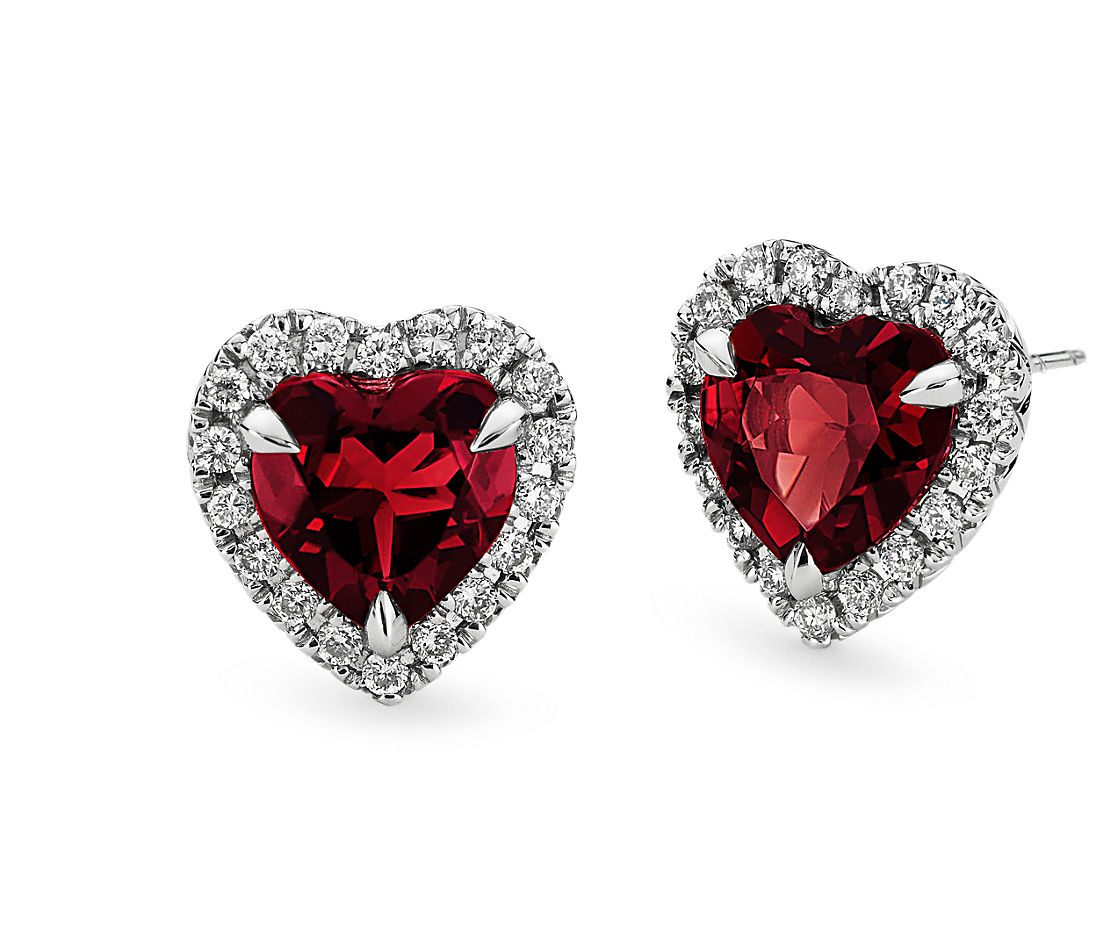 Heart Shaped Garnet And Micropavé Diamond Earrings In 18k White