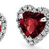 Heart-Shaped Garnet and Micropavé  Diamond Earrings in 18k White Gold (6mm)