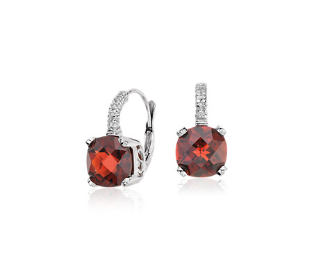 Garnet And Diamond Cushion Earrings In 14k White Gold 8x8mm