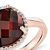Garnet and Diamond Halo Ring in 14k Rose Gold (10mm)