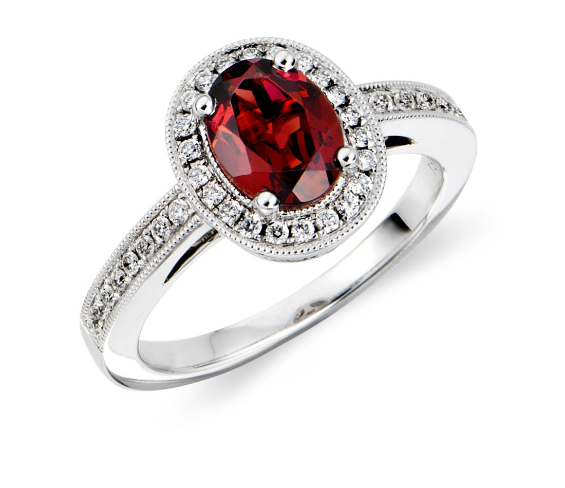 garnet and ring in 18k white gold 8x6mm blue nile