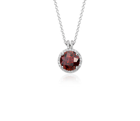 Garnet and diamond petite halo pendant in 14k white gold 8mm garnet and diamond petite halo pendant in 14k white gold 8mm aloadofball Image collections
