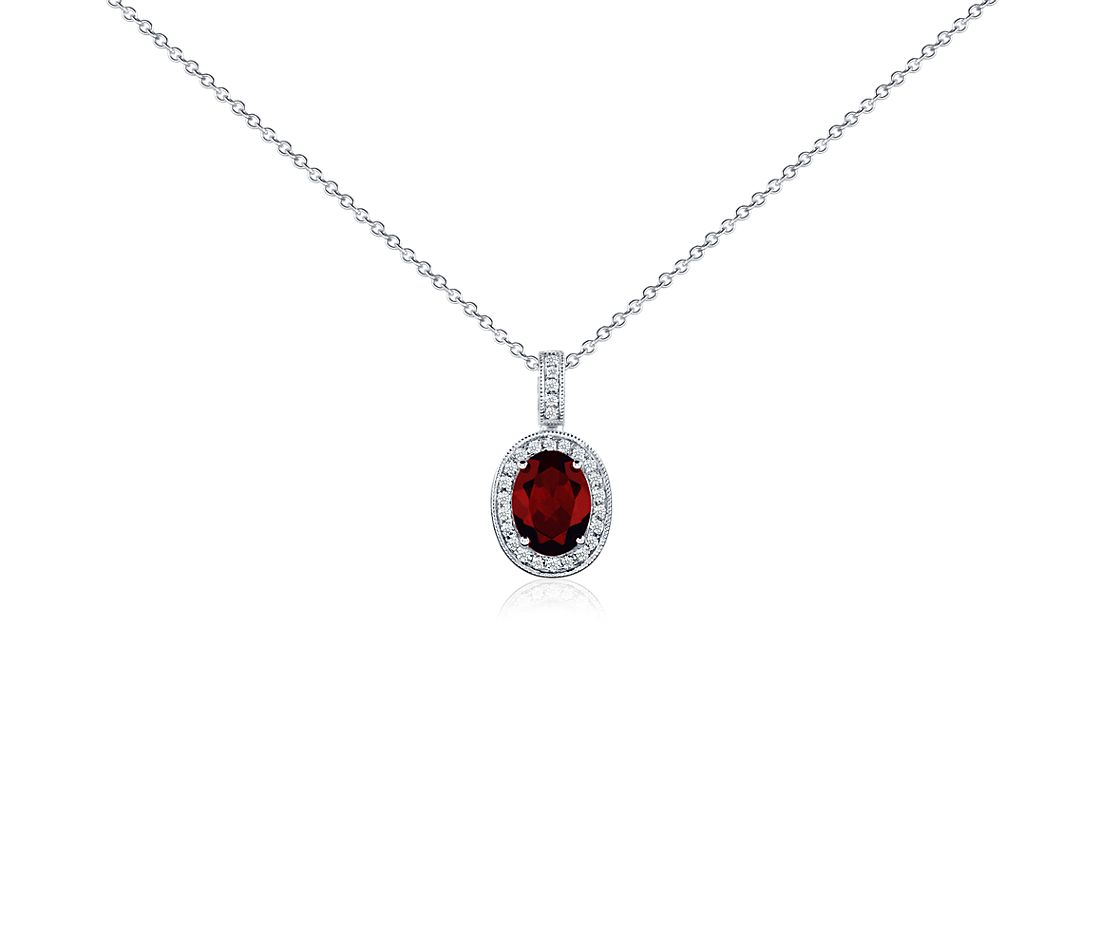 Oval Garnet and Diamond Pendant in 18k White Gold (8x6mm)