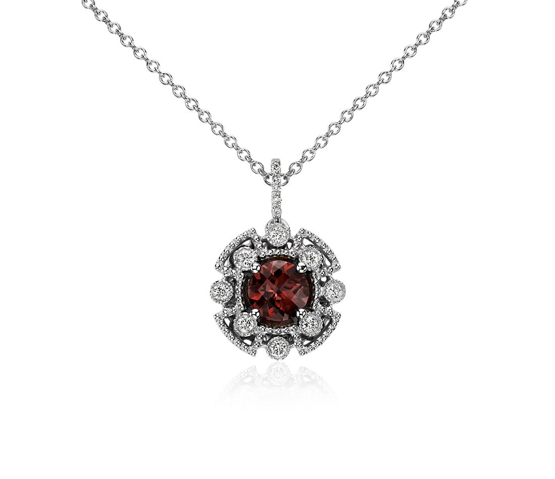 Garnet and Diamond Pendant in 14k White Gold (6mm)