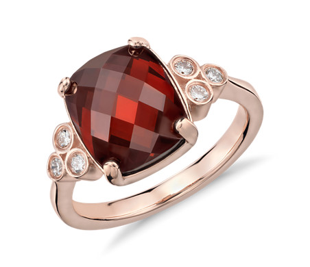 Robert Leser Garnet and Diamond Ring in 14k Rose Gold (11x9mm)