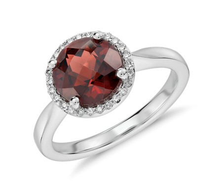 Blue Nile Garnet and Diamond Halo Ring in 18k White Gold (10x8mm) IQf23k