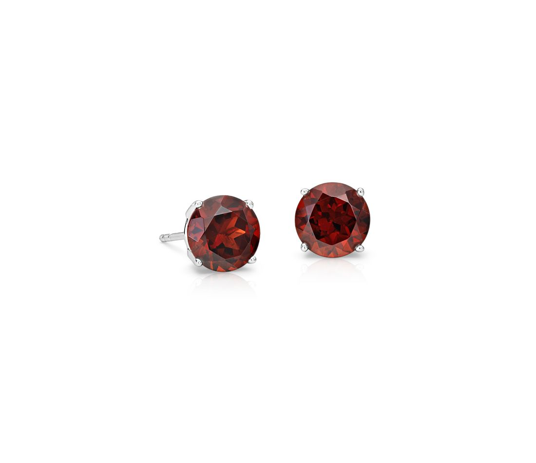 Garnet Stud Earrings In 14k White Gold 7mm