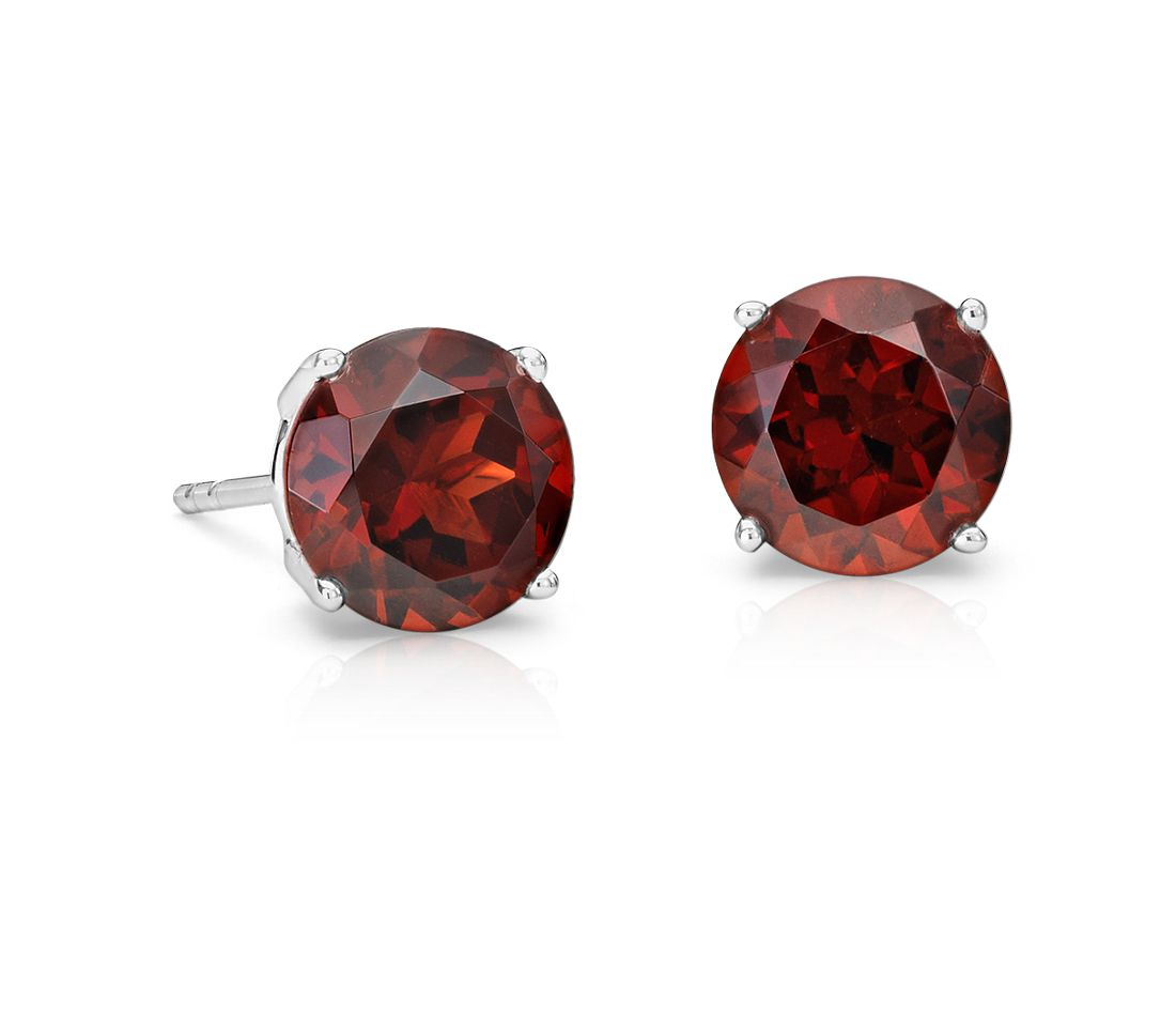 Garnet Stud Earrings In 14k White Gold 7mm Blue Nile