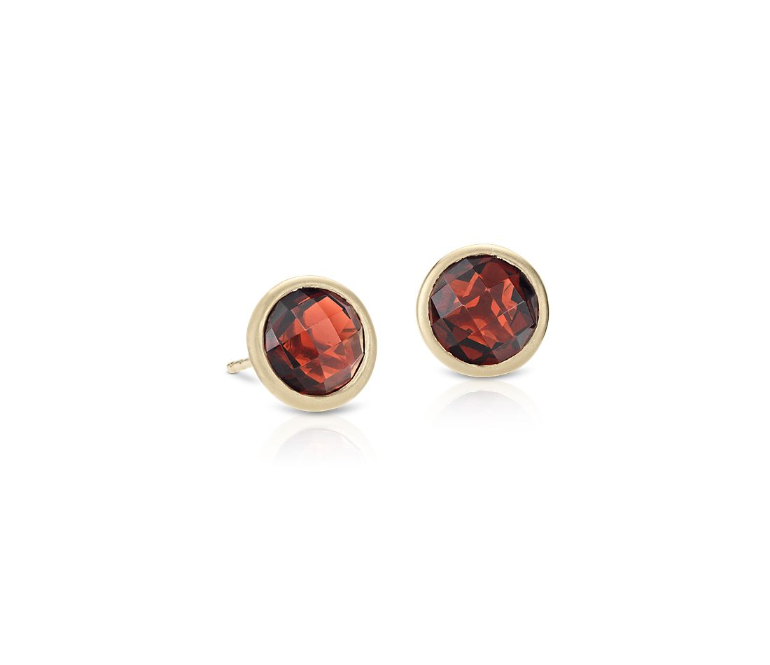 Garnet Stud Earrings In 14k Yellow Gold 7mm