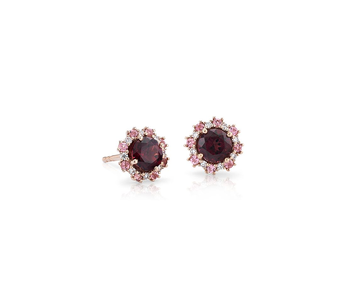 Garnet Earrings with Pink Tourmaline and Diamond Halo in 14k Rose Gold (5mm)