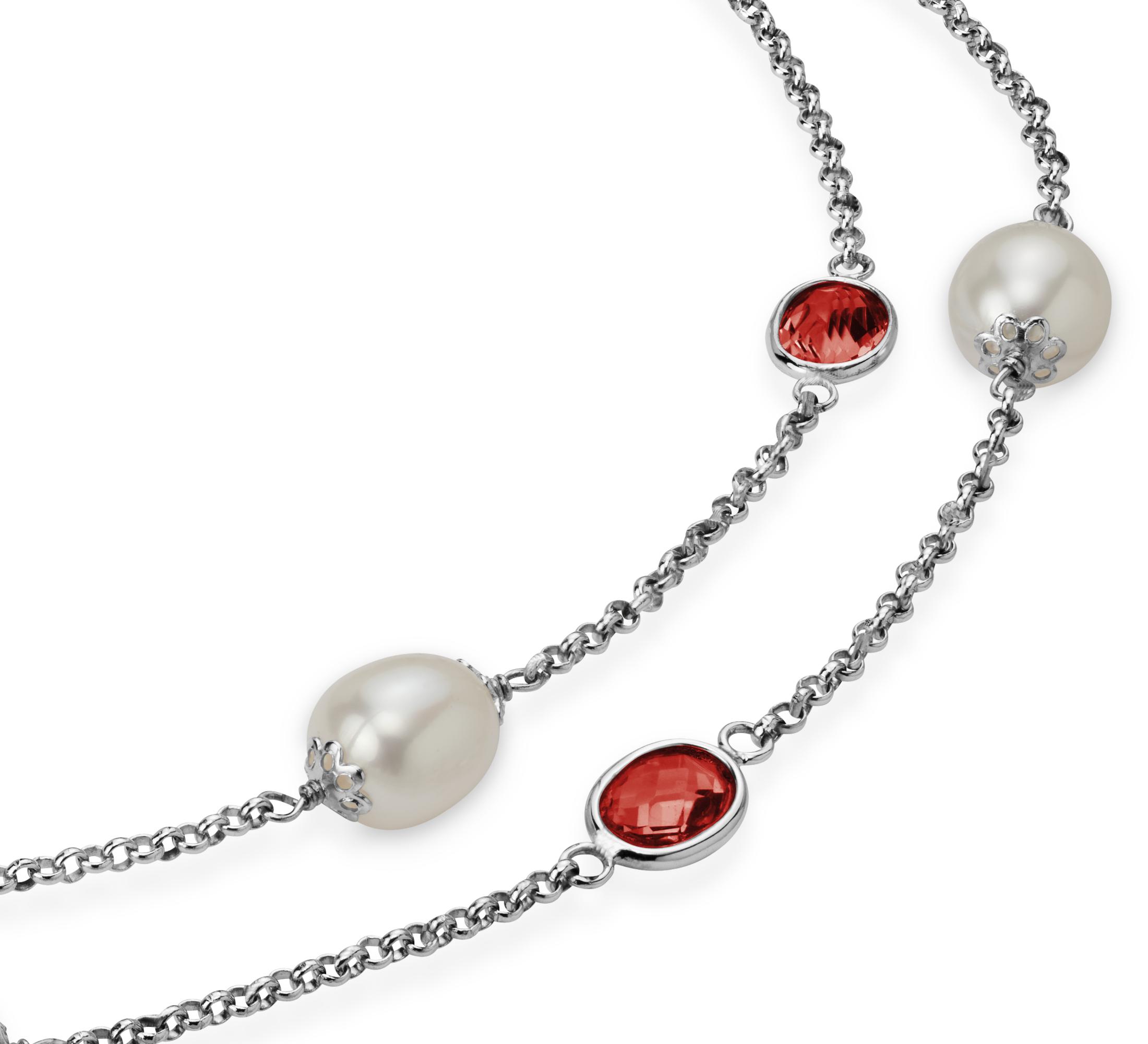 Collier de perles de culture d'eau douce et grenat en argent sterling - 36
