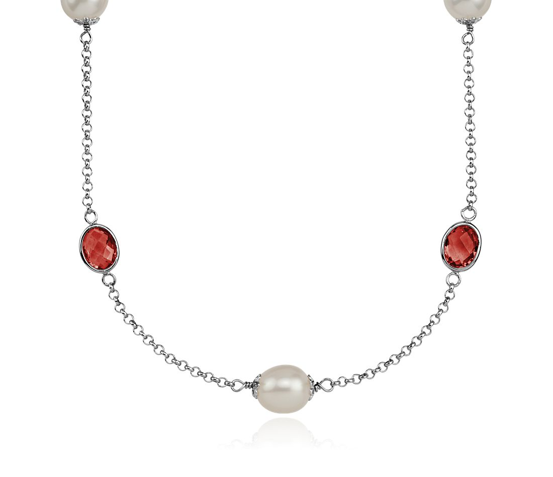 "Garnet and Freshwater Cultured Pearl Necklace in Sterling Silver - 36"" Long"