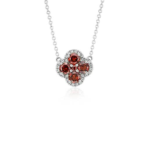 garnet halo clover necklace in sterling silver 4mm