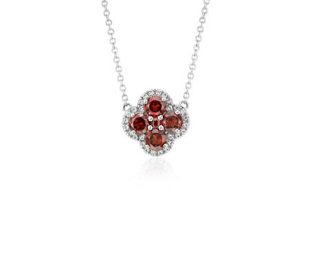 Garnet Halo Clover Necklace in Sterling Silver (4mm