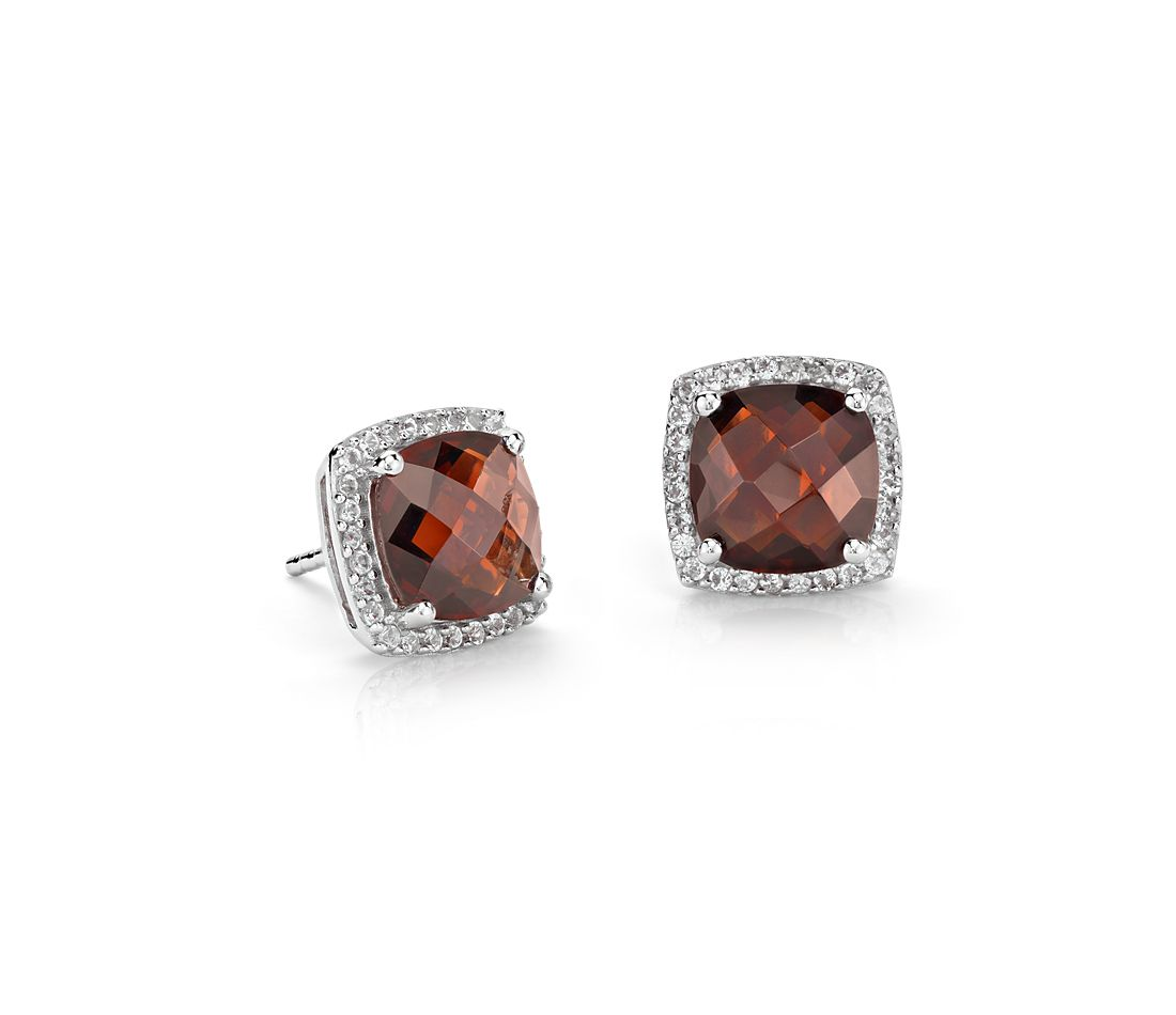 garnet halo stud earrings in sterling silver 8x8mm