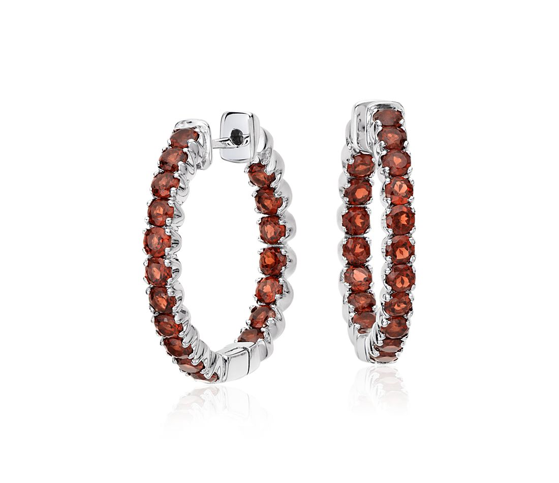 Garnet Hoop Earrings in Sterling Silver (2.5mm)
