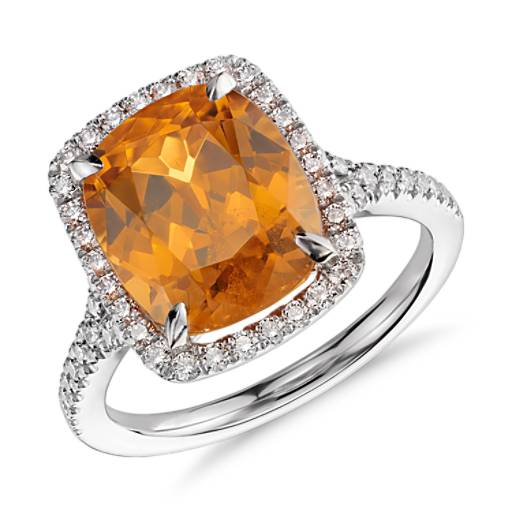 Mandarin Garnet And Halo Diamond Ring In Platinum 6 43 Ct