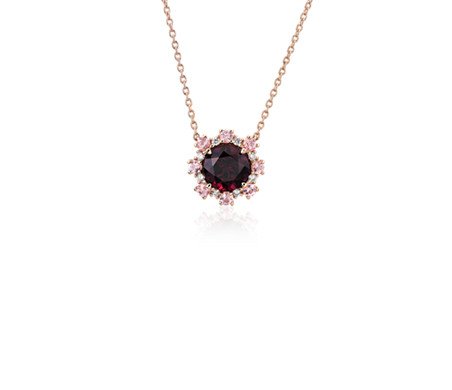 Garnet Pendant with Pink Tourmaline and Diamond Halo in 14k Rose Gold (6mm)