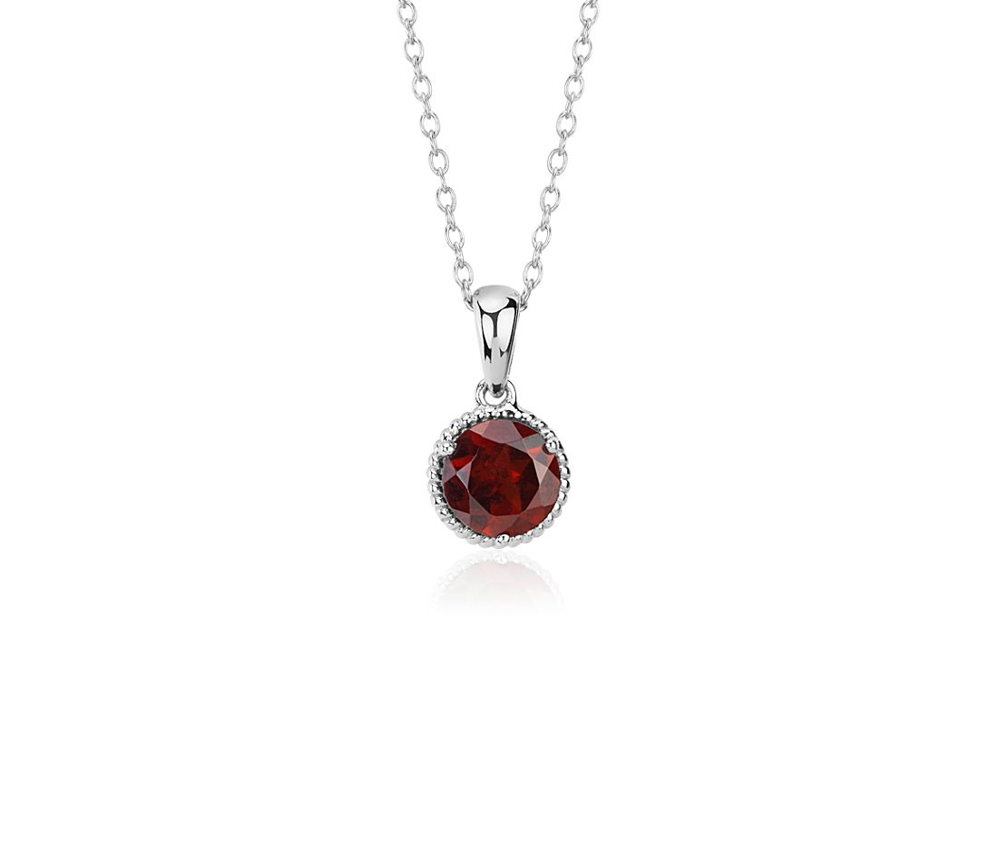 Garnet Rope Pendant in Sterling Silver (7mm)