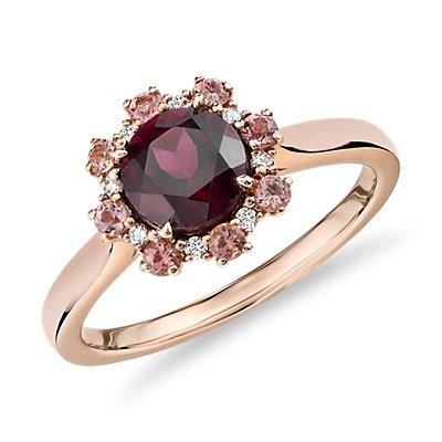 14k 玫瑰金粉碧玺与钻石光环石榴石戒指(6毫米)