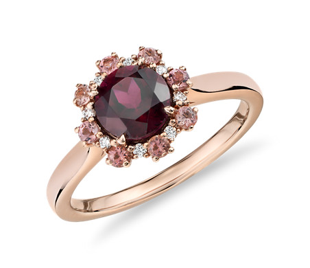 Bague grenat avec halo de diamants et tourmalines roses en or rose 14 carats (6 mm)