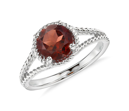 Garnet Rope Ring in Sterling Silver (7mm)