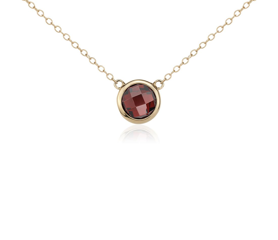Garnet Solitaire Necklace in 14k Yellow Gold (8mm)