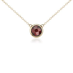 Garnet Solitaire Necklace in 14k Yellow Gold
