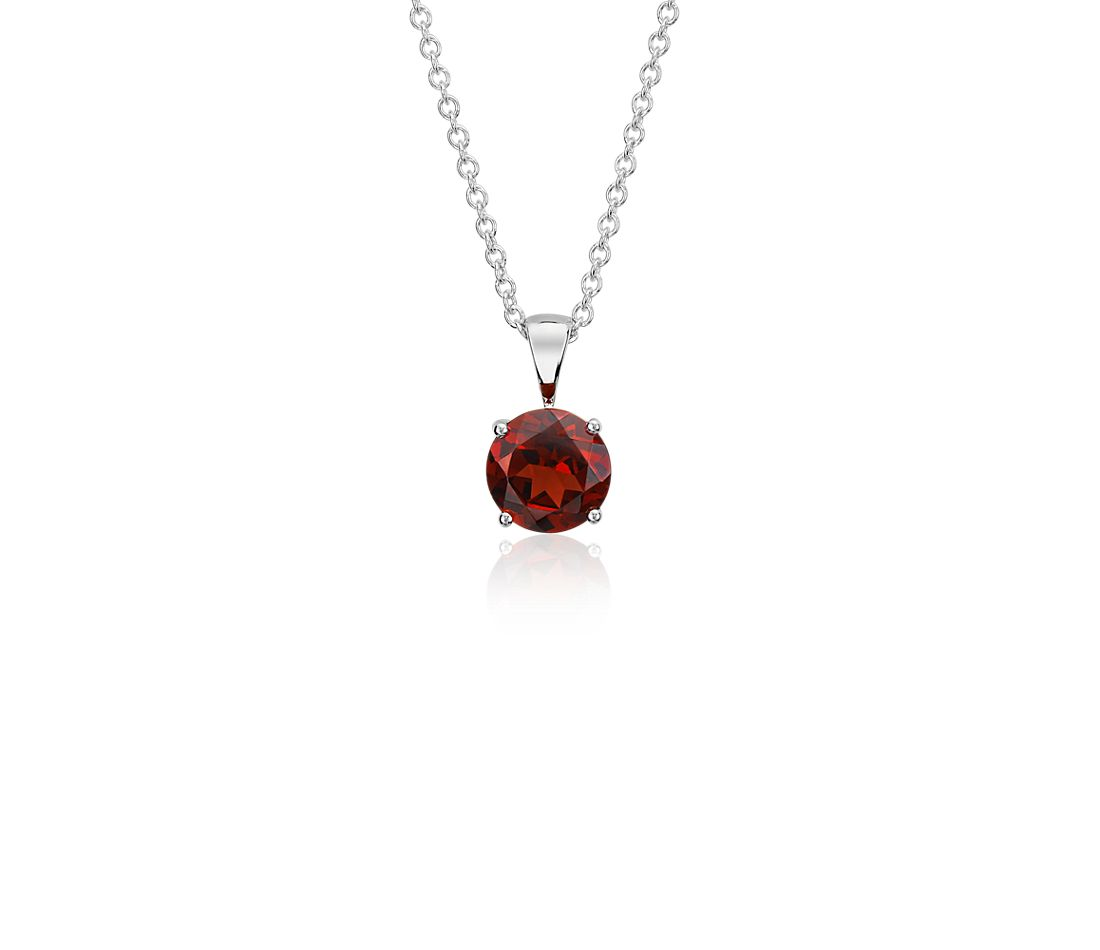 Garnet Solitaire Pendant in 14k White Gold (7mm)