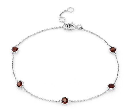 Garnet Stationed Bezel-Set Bracelet in 14k White Gold (3mm)
