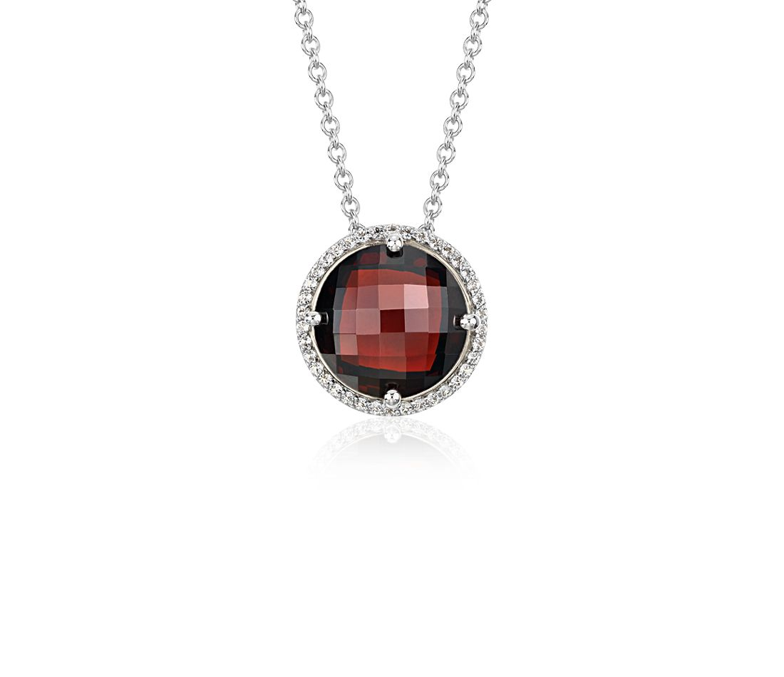 Garnet and White Topaz Halo Necklace in Sterling Silver (12mm)