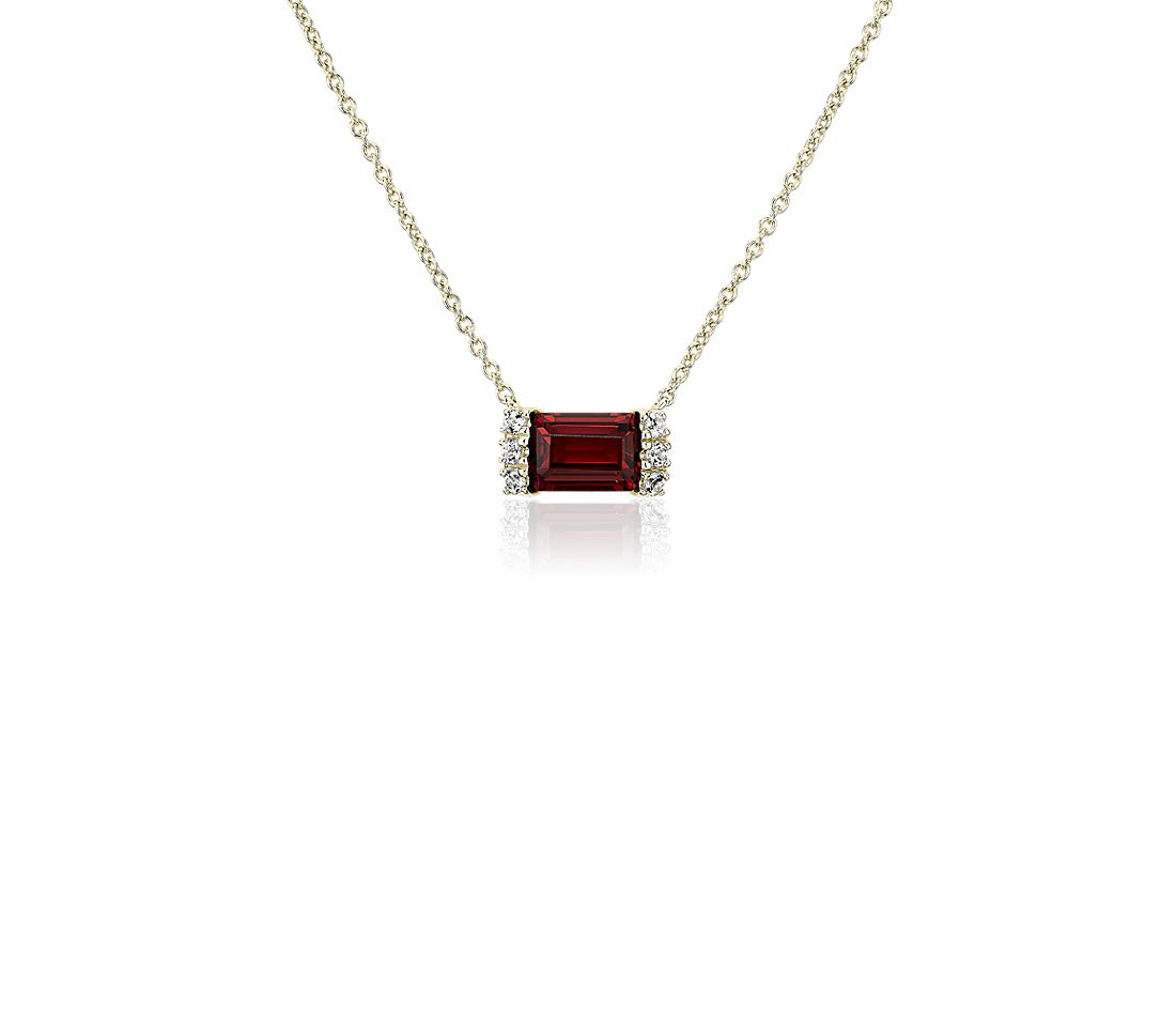 Garnet and White Topaz Neon-Pop Necklace in 18k Yellow Gold